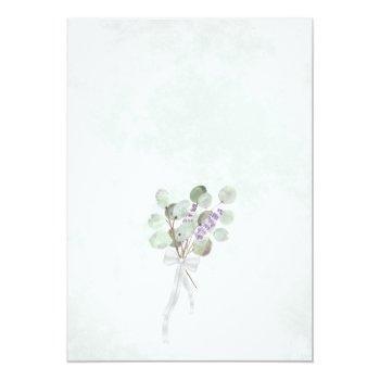 Small Watercolor Eucalyptus & Lavender Boho Chic Wedding Invitation Back View