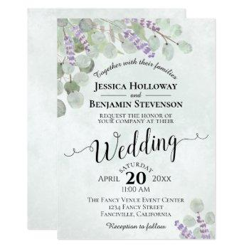watercolor eucalyptus lavender & greenery wedding invitation