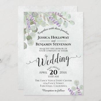 watercolor eucalyptus lavender & greenery wedding invitation
