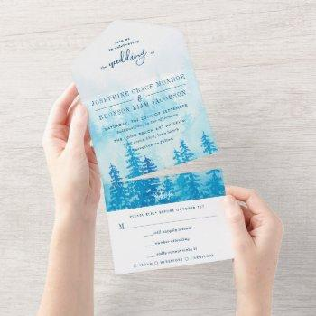 watercolor evergreen forest in blue wedding all in one invitation