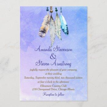 watercolor feathers on bluish purple wedding invitation