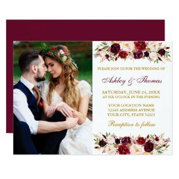 watercolor floral burgundy gold photo wedding invitation