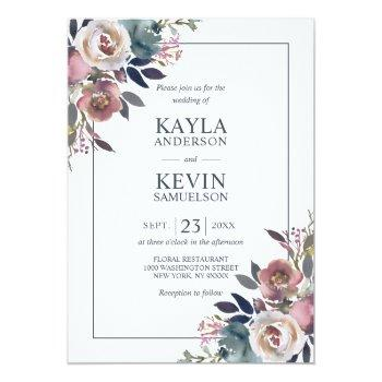 Small Watercolor Floral Dusty Rose Mauve Navy Blue Invitation Front View
