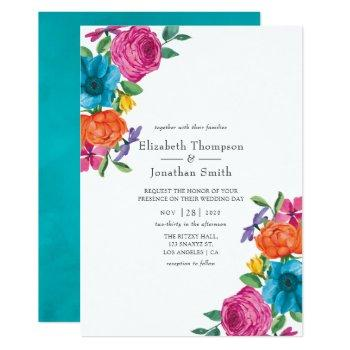 watercolor floral fiesta wedding invitation