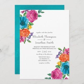 watercolor floral fiesta wedding invitation