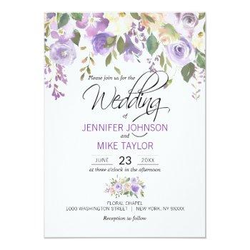 Small Watercolor Floral Lavender Purple Lilac Wedding Invitation Front View