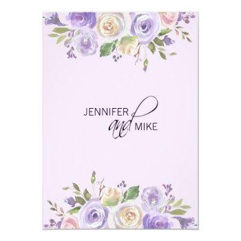 Small Watercolor Floral Lavender Purple Lilac Wedding Invitation Back View