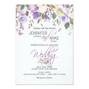 watercolor floral lavender purple lilac wedding invitation