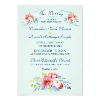 watercolor floral painted flowers wedding invitation