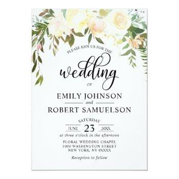 watercolor floral pink cream ivory wedding invitation
