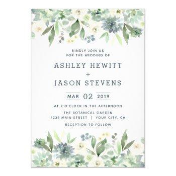 watercolor floral succulent wedding invitations