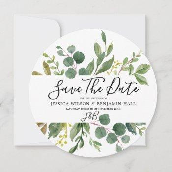 watercolor green leaves modern wedding save the date