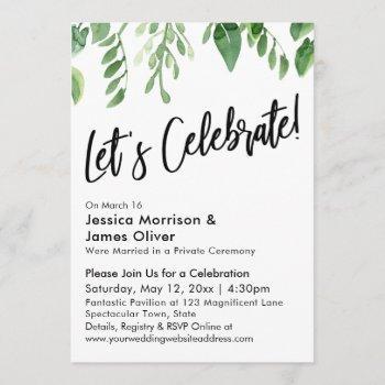 watercolor greenery & handwriting, let's celebrate invitation