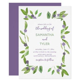 watercolor greenery with purple accents wedding invitation