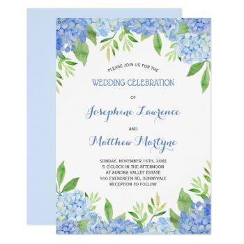 watercolor hydrangea blue floral wedding invitation