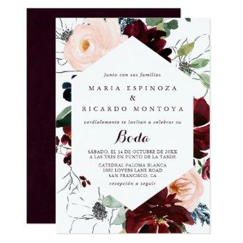 watercolor illustrated fall floral spanish wedding invitation