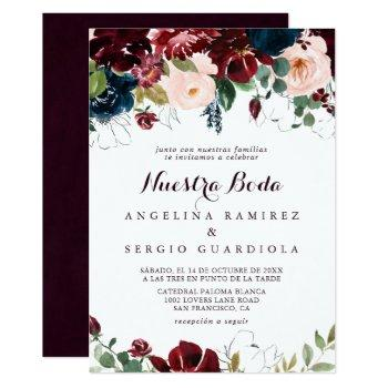 watercolor illustrated fall nuestra boda wedding invitation