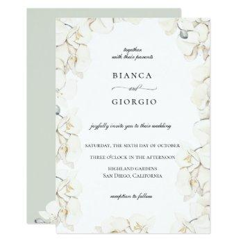 watercolor ivory orchid frame wedding invitation