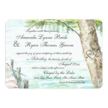 watercolor lake and carved tree heart invitation