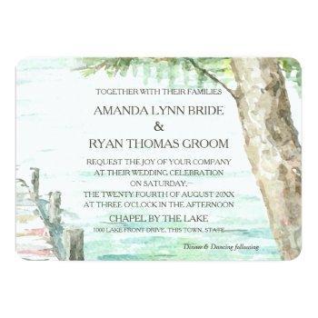 watercolor lake and tree invitation