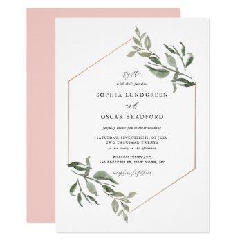 watercolor leaves rose gold frame wedding invitation