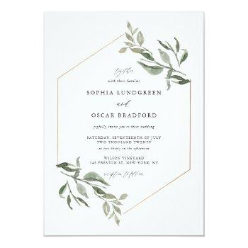 Small Watercolor Leaves Rose Gold Frame Wedding Invitation Front View