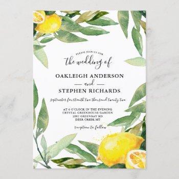 watercolor lemon wreath boho wedding  invitation