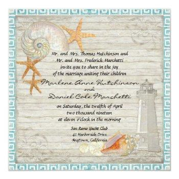 Small Watercolor Lighthouse Shells Beach Cottage Wedding Invitation Front View