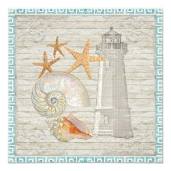 Small Watercolor Lighthouse Shells Beach Cottage Wedding Invitation Back View