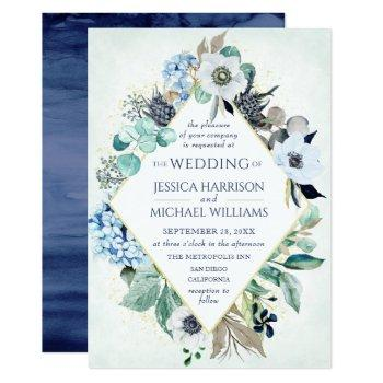 watercolor modern floral elegant anemone wedding invitation