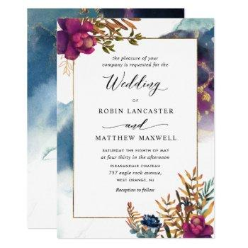 watercolor mystic garden teal, purple blue invitation