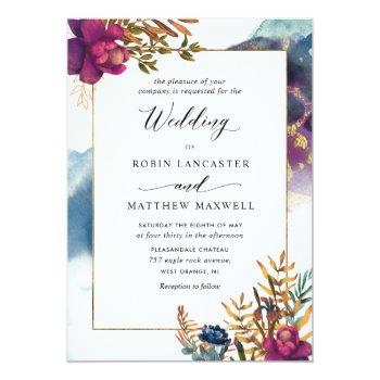 Small Watercolor Mystic Garden Teal, Purple Blue Invitation Front View