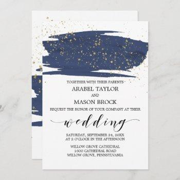 watercolor navy and gold sparkle wedding invitation