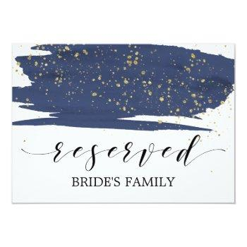 watercolor navy and gold wedding reserved sign invitation