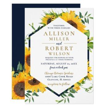 watercolor navy blue sunflower rustic wedding invitation