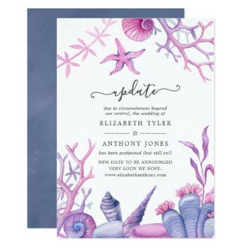 watercolor ocean life wedding update invitation