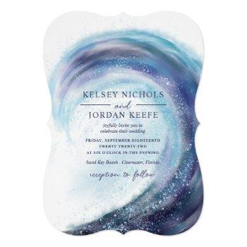 watercolor ocean wave   wedding invitation