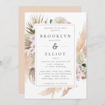 watercolor pampas grass & flowers boho wedding invitation