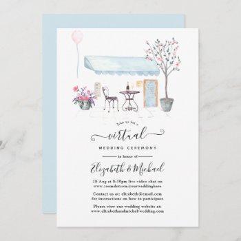 watercolor paris online virtual wedding invitation