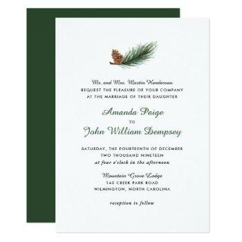 watercolor pine branch winter pinecone wedding invitation