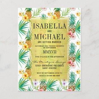 watercolor pineapple & hibiscus tropical wedding invitation postcard