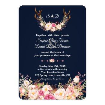 watercolor pink blush flowers antlers navy wedding invitation