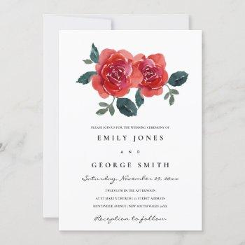 watercolor red green rose floral wedding invite
