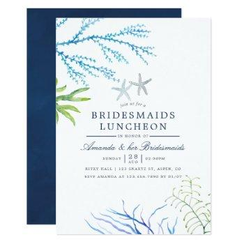 watercolor seaweed beach bridesmaids luncheon invitation