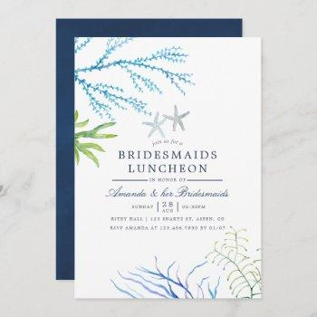 watercolor seaweed beach bridesmaids luncheon invitation