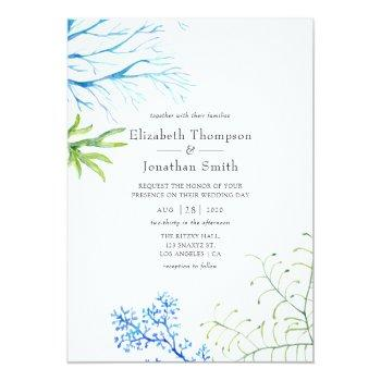 Small Watercolor Seaweed Beach Themed Wedding Invitation Front View