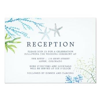 Small Watercolor Seaweed Beach Wedding Reception Invitation Front View