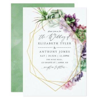 watercolor succulent geometric wedding invitation