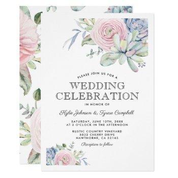 watercolor succulent pastel floral wedding invitation