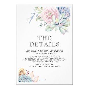 watercolor succulent vintage wedding details invitation